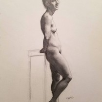 Standing Female Nude, graphite on paper