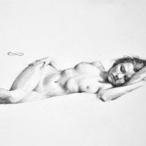 Figure in Repose, pencil on paper
