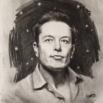 Elon, charcoal on paper