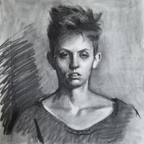 Hanna Waters, charcoal on paper