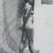 Standing Female Figure, graphite on paper