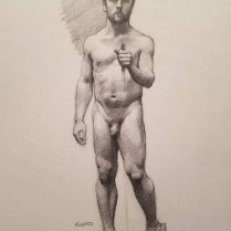 Standing Male Nude, graphite on paper