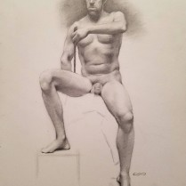 Seated Male Nude, graphite on paper