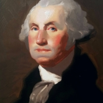 Portrait of George Washington after Gilbert Stuart, oil on paper