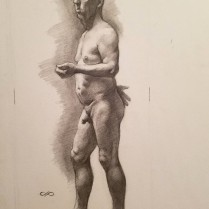 Standing Male Nude, pencil on paper