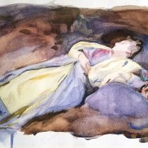 After Sargent, Outdoor Figure, watercolor on paper