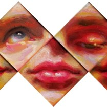 Series of Eyes and Lips, oil on glass