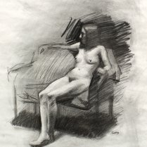 Figure Study, charcoal on paper