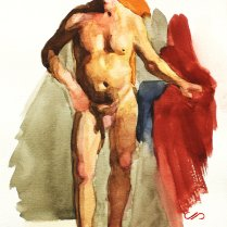Figure Study, watercolor on paper